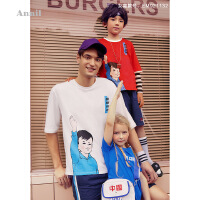 【活动价:129】安奈儿童装男童T恤圆领短袖趣味国潮2019夏装新款休闲半袖上衣薄