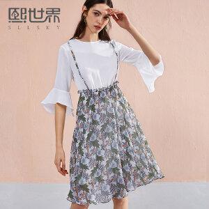 熙世界2018夏季新款圆领显瘦喇叭袖印花吊带假两件女装 116SZ002