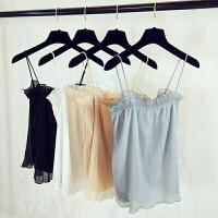 夏季女装性感吊带木耳边短款百搭抹胸欧根纱褶皱上衣E152