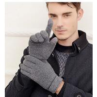 秋冬季 保暖触摸屏手套 加绒加厚 男士羊毛电瓶车手套骑车