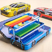 男生文具铅笔铁质盒小学生幼儿园儿童自动多功能汽车男孩男童三层铁盒铁皮马口铁变形金刚