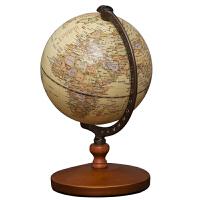 家居摆件书房办公桌装饰品地球仪高20CM古典风格教学型左右旋转木质底座