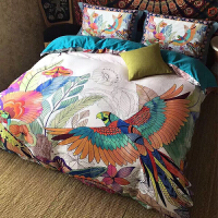 美式床品80支贡缎长绒棉大版花全棉四件套1.8m床上用品床笠款