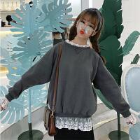 秋冬新款韩版学院风加绒蕾丝拼接假两件套头卫衣女学生长袖上衣