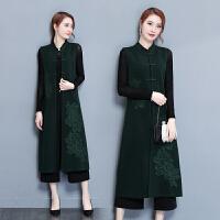 唐装秋装中国风中式女装无袖长款外套女过膝复古盘扣改良旗袍上衣