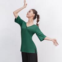 舞蹈练功服女成人2018新款现代舞演出服古典跳舞服上衣五分袖
