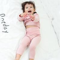 婴儿秋衣秋裤套装0-1岁儿童保暖内衣3女宝宝睡衣高腰护肚秋冬棉