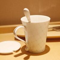 创意礼品创意陶瓷杯子 马克杯套装 情侣杯水杯套装咖啡杯带盖带勺英伦风