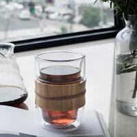 家用卧室水杯双层玻璃杯茶杯耐热创意时尚加厚办公室商务简约透明玻璃杯