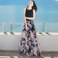 夏季新品女装两件套装裙子雪纺连衣裙长裙波西米亚海边度假沙滩裙 图片色 XZA282