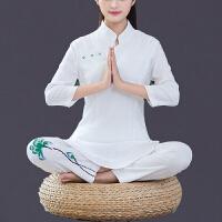 中国风春装新款手绘麻瑜伽服套装女瑜珈服愈加禅修居士服茶服