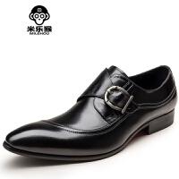 米乐猴 潮牌简约时尚头层英伦搭扣套脚男鞋商务休闲皮鞋尖头男黑棕色男鞋