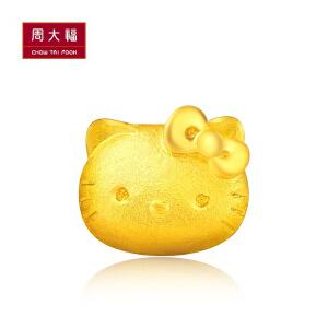 周大福 HelloKitty系列Kitty足金黄金耳钉(单只)R14055>>定价