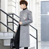 中国风刺绣长披风衣中山装男立领民国大衣青年唐装汉服户外套秋冬
