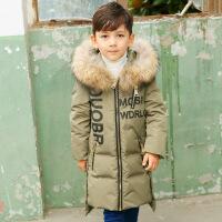 儿童羽绒服男童中长款2018新款男孩童装外套加厚大毛领反季