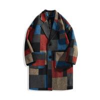 英伦风毛呢大衣男中长款韩版呢子外套青少年日系复古潮流格子风衣 拼色