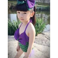 美人鱼服装女宝宝女童连体泳衣公主婴幼儿游泳衣女孩儿童泳装可爱 绿色 送蝴蝶结头饰