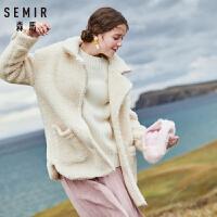 【到手价:124元,春装上新季!】森马毛呢外套女冬季新款宽松保暖大衣复古流行学生潮