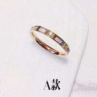 韩国简约粉色贝壳镶钻钛钢18k玫瑰金闺蜜指环戒指女饰品