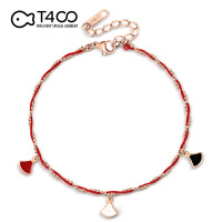 T400精致百搭三色裙子红绳脚链韩版简约个性潮网红吊坠送女友