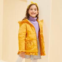【2件4折:99】巴拉巴拉旗下巴帝巴帝2019冬女童中大童时尚甜美中长款儿童棉服外套