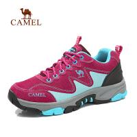 【全店满300减100】camel骆驼户外登山徒步鞋 女士新款 低帮系带防滑减震反绒皮徒步鞋