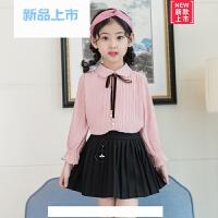 女童衬衫春季新款2018儿童韩版雪纺衬衣中学生长袖上衣大童打底衫