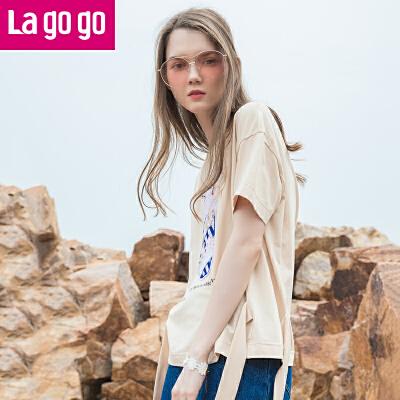 Lagogo2017夏季新款纯色系带休闲上衣圆领字母印花宽松短袖T恤女