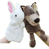 毛绒公仔礼物送女生 手指娃娃小动物玩偶 宝宝指偶毛绒玩具讲故事手偶大灰狼小白兔动物手指手套玩偶