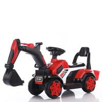 儿童挖掘机可坐挖土机男孩玩具挖臂车可骑超大号钩机工程车全电动 红色滑行 音乐灯光 安全帽铲子电池螺丝刀海洋球拉绳