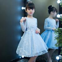 女童连衣裙秋季长袖2018新款女洋气公主裙韩版童装儿童裙子秋冬款 蓝色