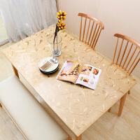 欧式pvc烫金软玻璃桌布防水防烫防油隔热桌垫水晶板金色印花台布