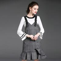 洋气时髦秋季套装女时尚两件套新款名媛气质小香风鱼尾背带裙