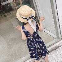 中大童夏季连衣裙女童宝宝吊带背心碎花长裙燕尾裙子