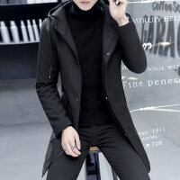 秋冬风衣男中长款有帽子的衣服韩版帅气褂子男士保暖外套青年学生