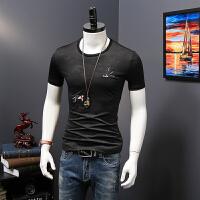 男士T恤短袖夏季新款时尚男装复古修身刺绣飞鸟圆领打底衫潮流 H20830黑色