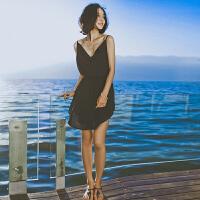 连衣裙女士夏季新品女装V领露背雪纺吊带短波西米亚海边度假沙滩裙