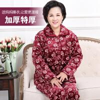 季珊瑚绒夹棉中老年睡衣女加厚加绒保暖中年妈妈老人家居服套装