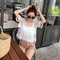 蕾丝衫女短袖2018夏装新款韩版仙蕾丝上衣吊带背心两件套潮