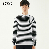 【新款】GXG毛衫男装 冬季男士青年时尚黑白条圆领毛衫毛衣针织衫