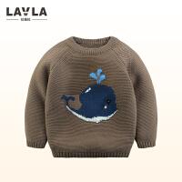 lavla童装2017冬新款儿童套头毛衣男女同针织毛线衫卡通圆领毛衣