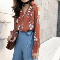 春夏韩版chic风复古印花西装领雪纺单排扣宽松衬衣长袖衬衫上衣女