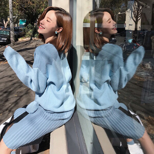 【超级品牌日!下单立减100!】糖果色套头毛衣女2018秋装新款慵懒风宽松百搭简约长袖针织衫