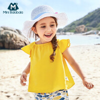 【129元选3件】迷你巴拉巴拉女童儿童短袖衬衫2018新款纯色纯棉宽松韩版短袖衬衫