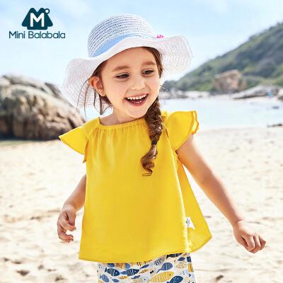 【满200减130】迷你巴拉巴拉女童儿童短袖衬衫新款纯色纯棉宽松韩版短袖衬衫