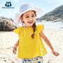 【限时1件6折 2件5.5折】迷你巴拉巴拉女童儿童短袖衬衫新款纯色纯棉宽松韩版短袖衬衫