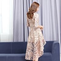 2018春季名媛礼服连衣裙中长款高贵气质宴会前短后长聚会蕾丝裙