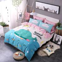 纯棉四件套全棉可爱卡通儿童床单被套床笠1.2米1.5/1.8m床上用品