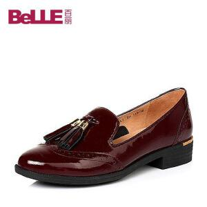 Belle/百丽2017春英伦流苏舒适方跟牛皮女单鞋BLTA7AM7春季新款2017单鞋女春夏新品