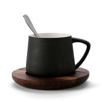 汉馨堂 咖啡杯 陶瓷杯 咖啡杯 马克杯创意杯子水杯带碟勺子胡桃木杯托套装